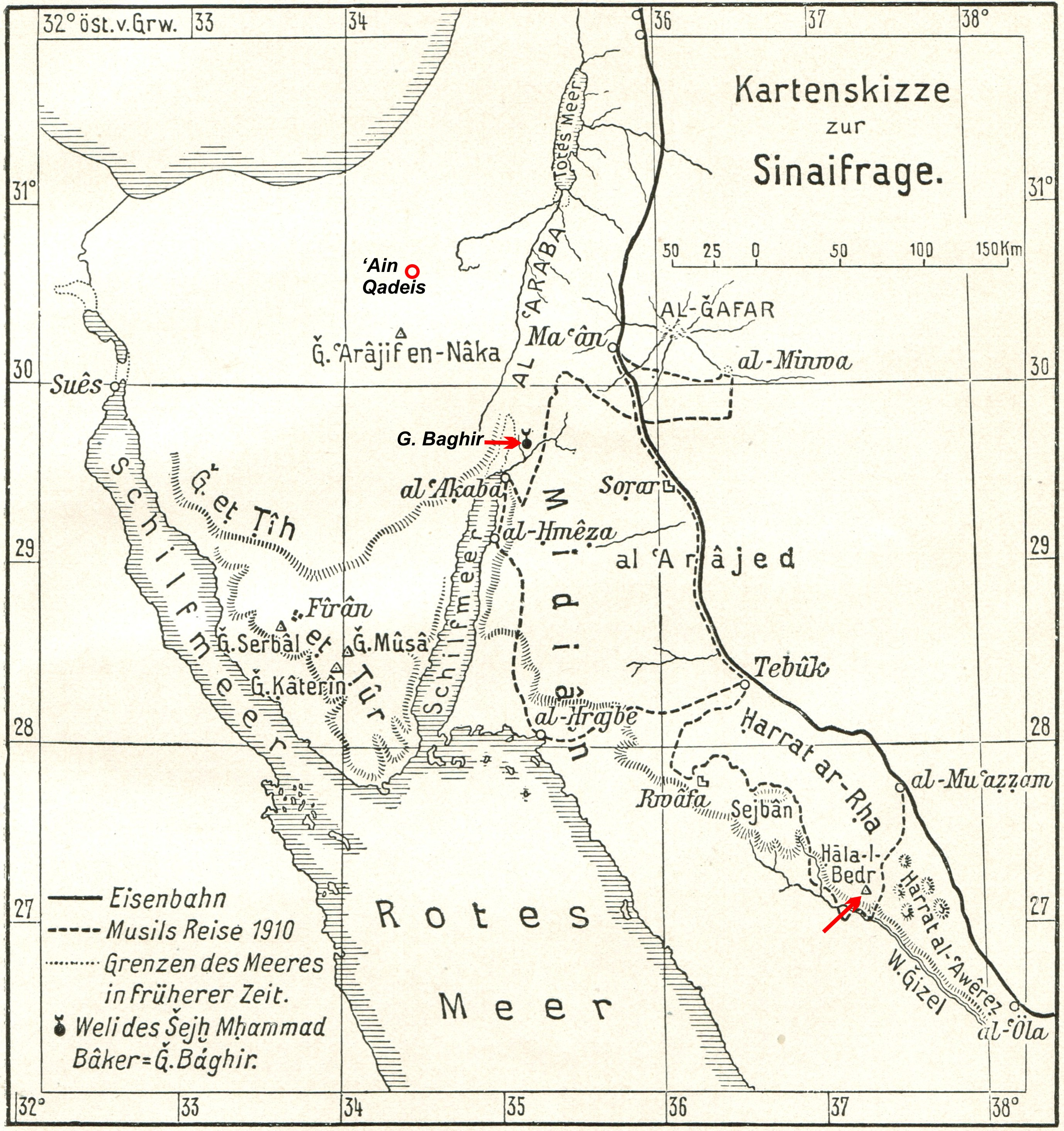 Figure 1. The locations of Hala-l-Bedr, G. Baghir, and Ain Qadeis. (Adapted from Oberhummer 1912, Plate 3.)
