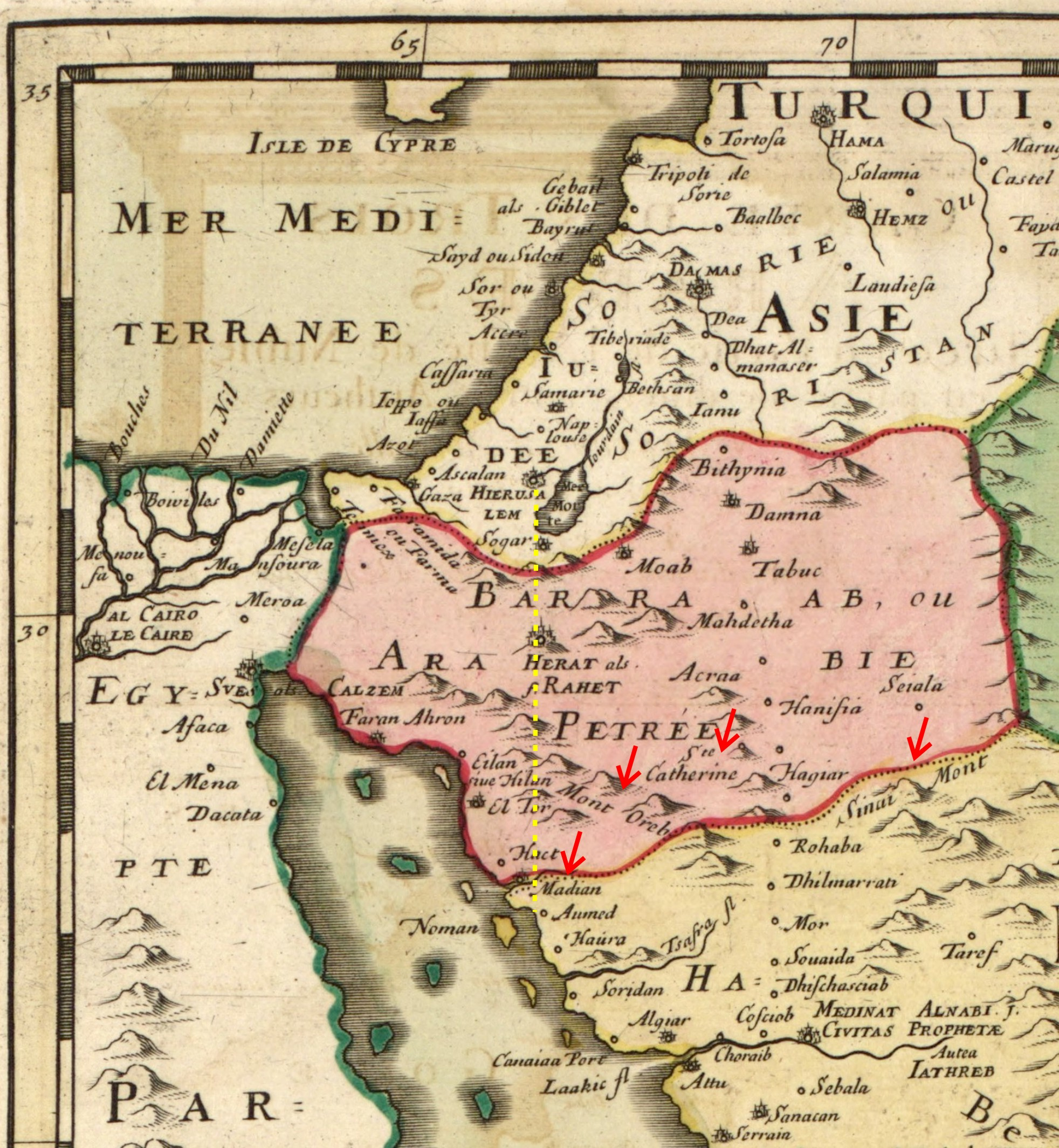 Figure 7. This 1654 map shows the Mount Sinai locations to the south and east of Jerusalem (from Carte Des Trois Arabies by Sanson).