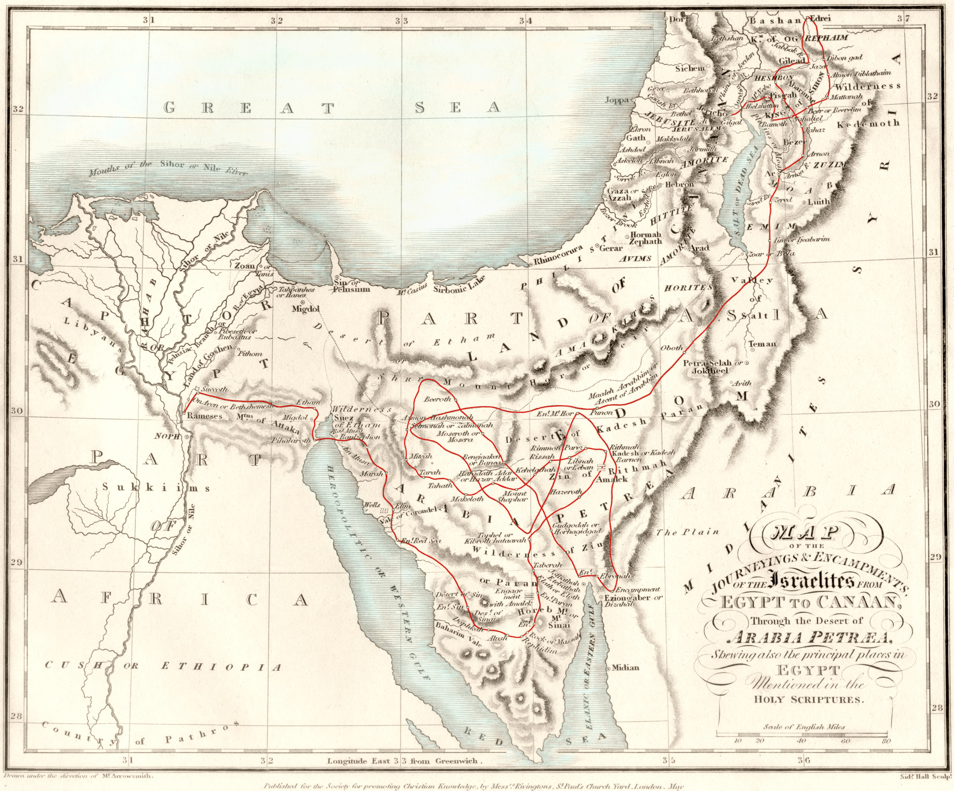Early 19th-century map showing a traditional Exodus route.